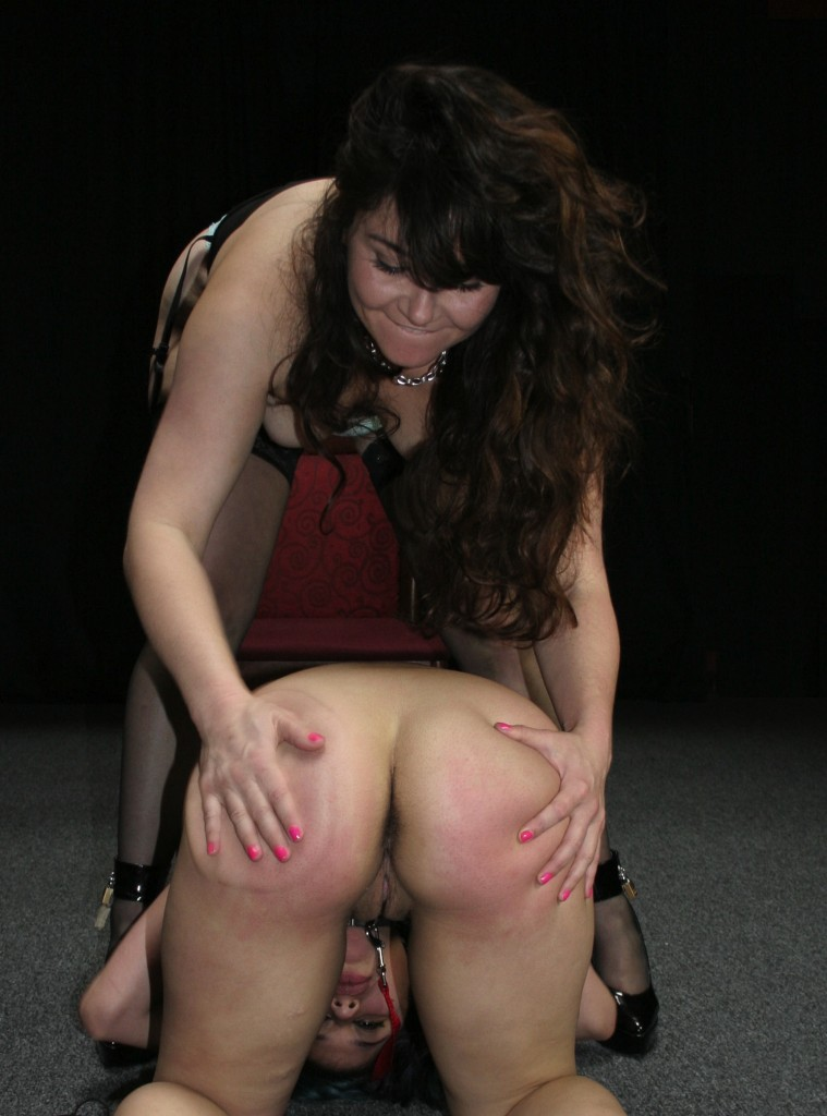 Cute babes in bare ass lesbian spanking picture