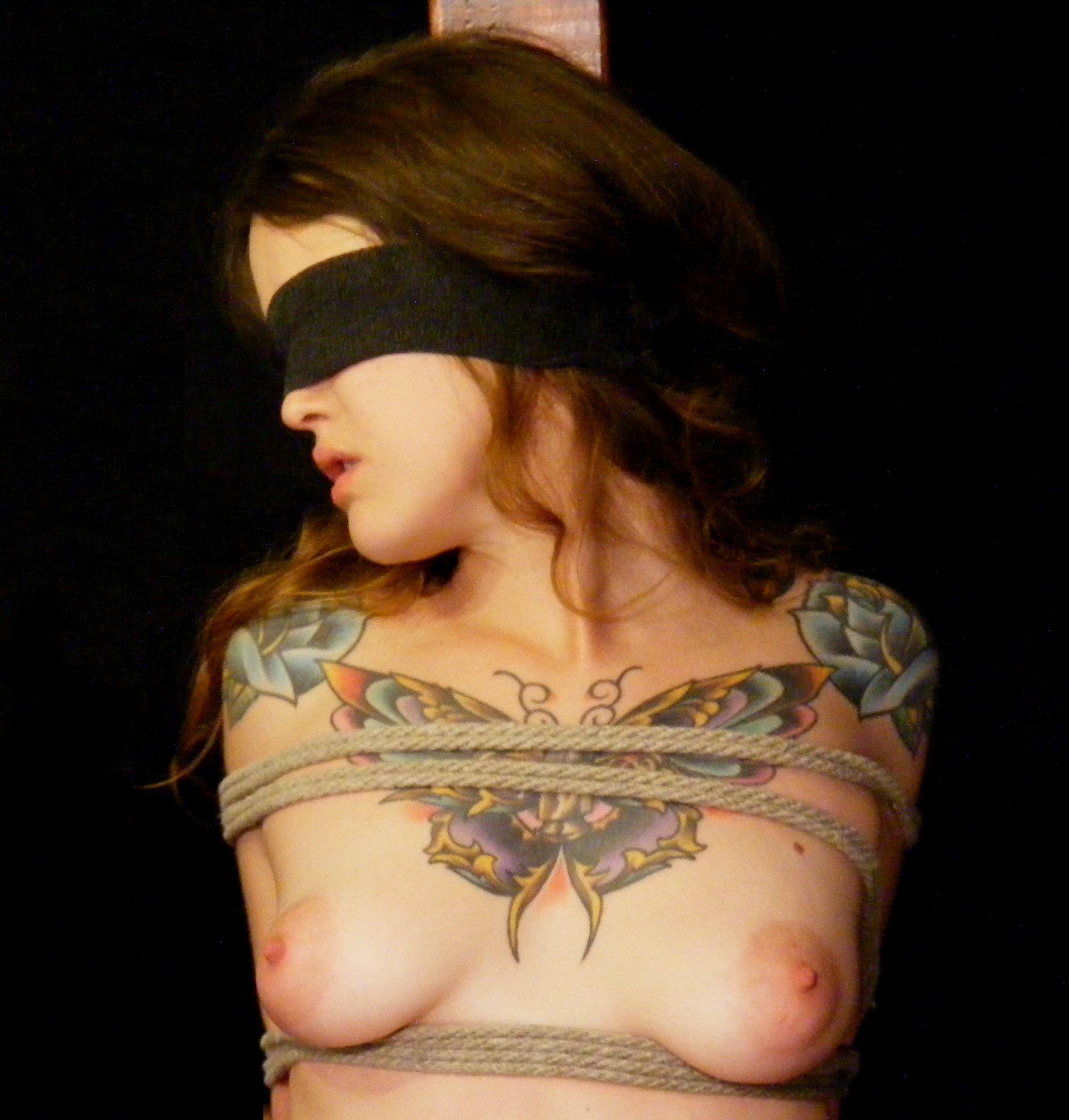 Girl stripped naked and whipped