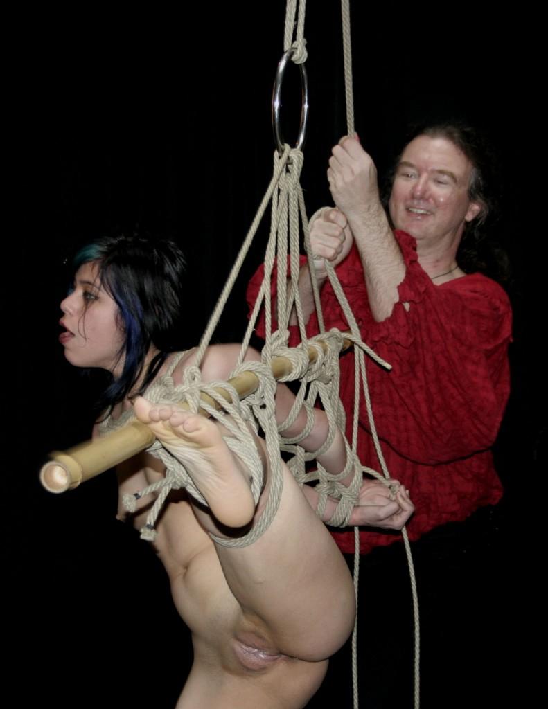 Nude slave girl in shibari bondage