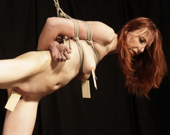 Nude slavegirl in shibari bondage with nipples and pussy tortured with mousetraps