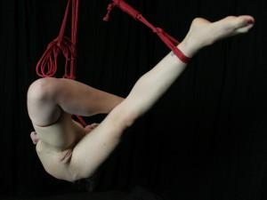 Nude slave girl in shibari suspension bondage