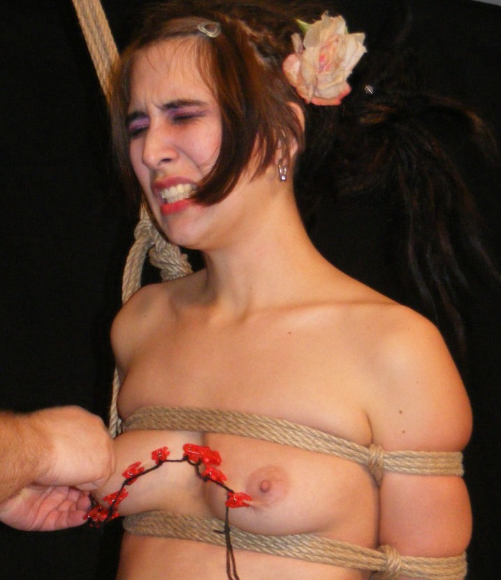 Nude bound slave girl having her tits tortured with clips and pinching.