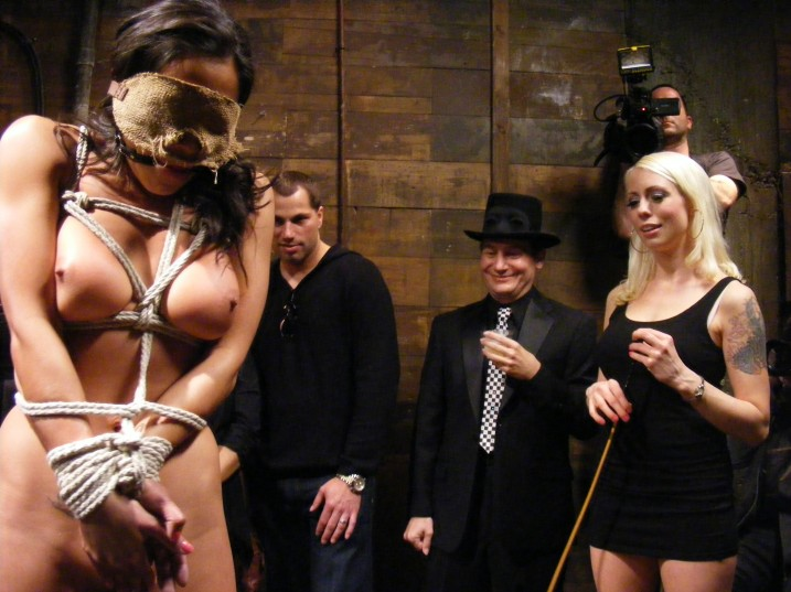 Naked bound and gagged slave girl humiliated at party