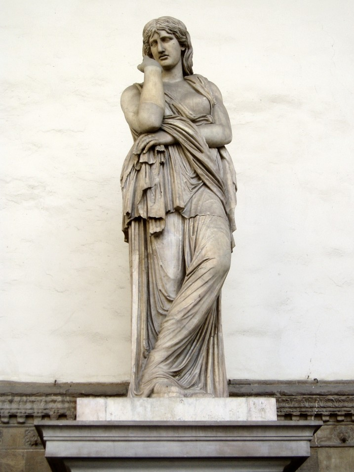 Statue of roman captive with one breast bare