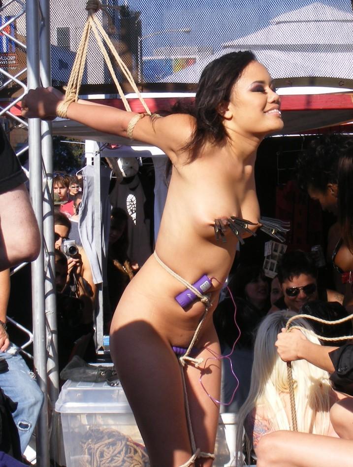 Annie Cruz nude in bondage at Folsom Street Fari