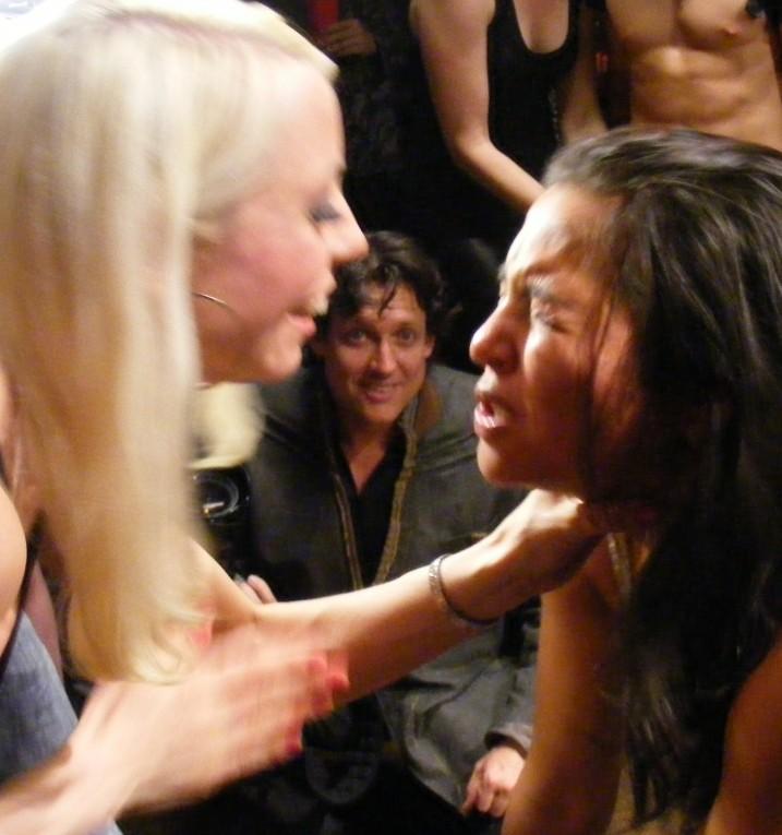 Lesbian mistress slapping her slave girl's face
