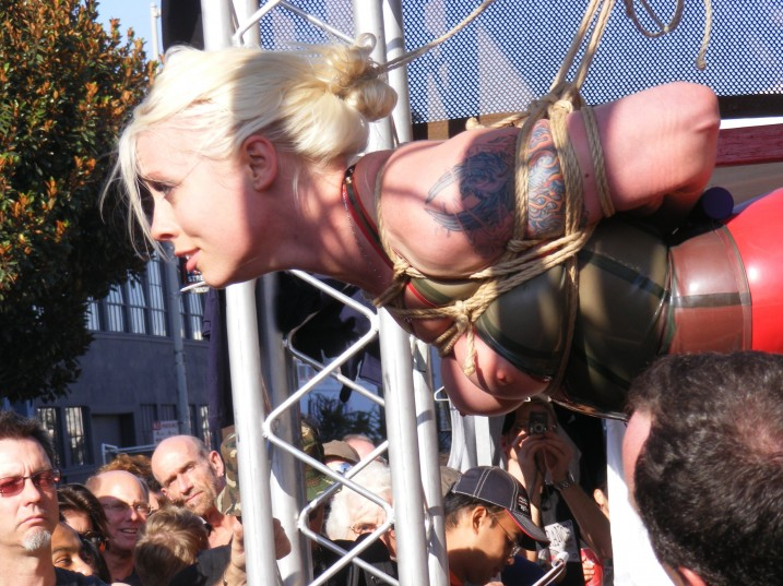 Lorelei Lee topless in public bondage, CMNF