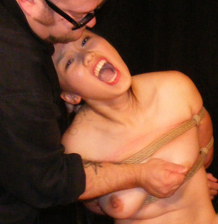 CMNF - naked bound slave girl having her nipples pinched.