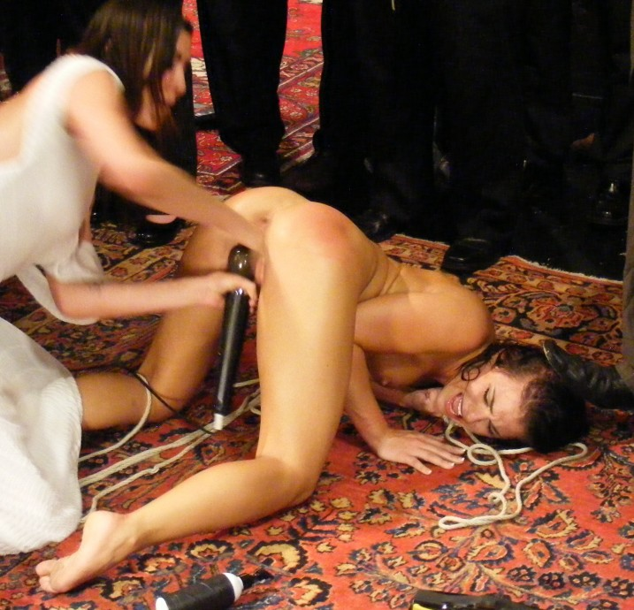 CMNF, nude girl getting fisted at Public Disgrace shoot